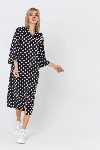 Черное кимоно платье-рубашка в белый горох