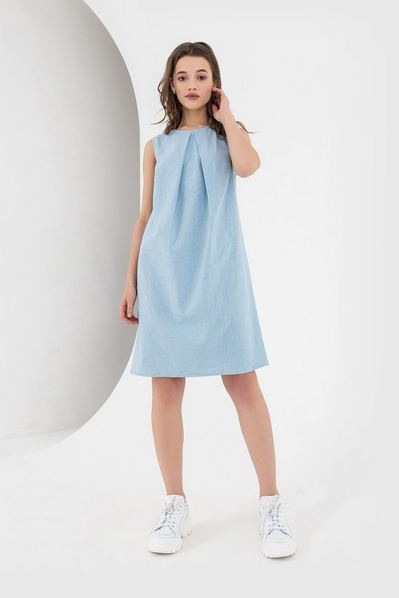 Льняное платье А-силуэта небесное