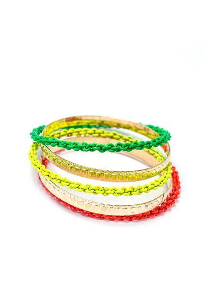 Набор тонких металлических браслетов неоновых