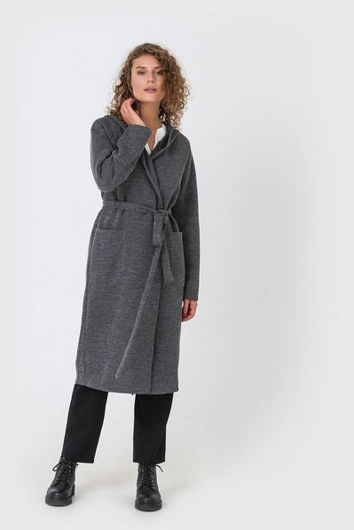 Женское пальто-кардиган с капюшоном графитовое