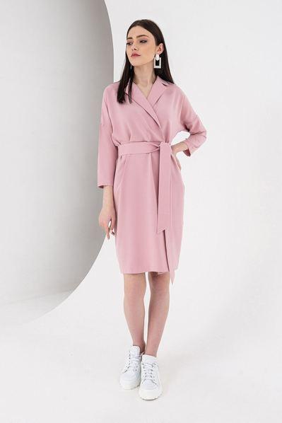 Платье с поясом и запахом фрезовое
