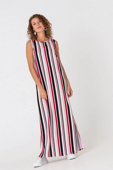 Макси платье майка в полоску черно-ягодная