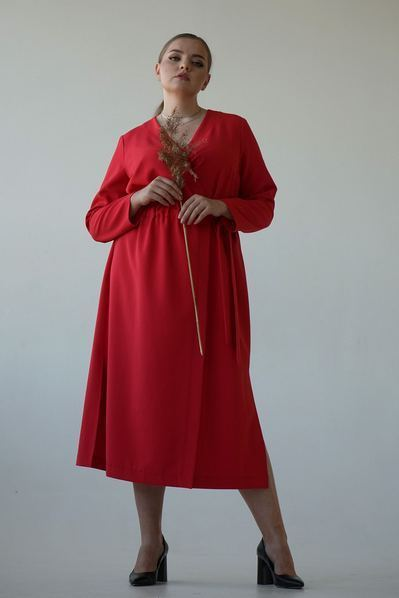 Красное миди платье с разрезами на запах большой размер