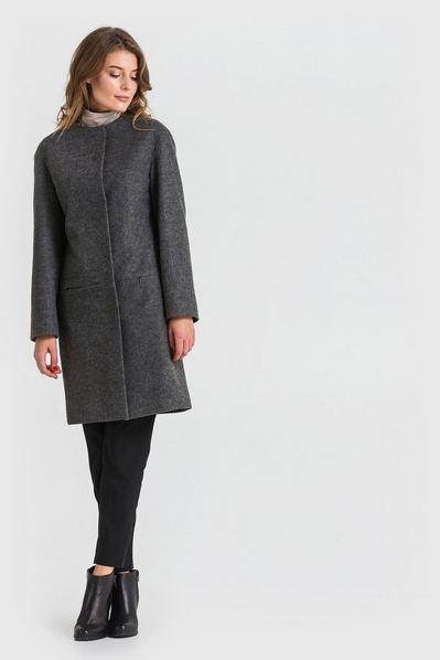 Женское пальто с кокеткой без воротника из кашемира графитовое