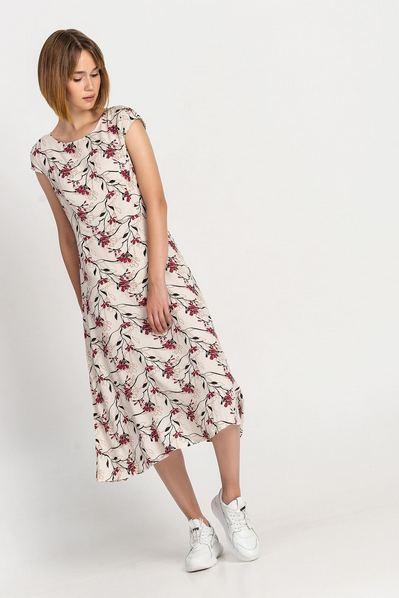 Штапельное платье миди бордовые цветы на молочном