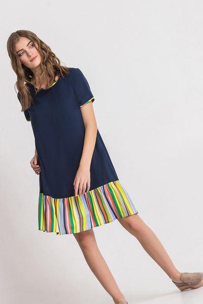 Синее платье с голубо-розовым воланом