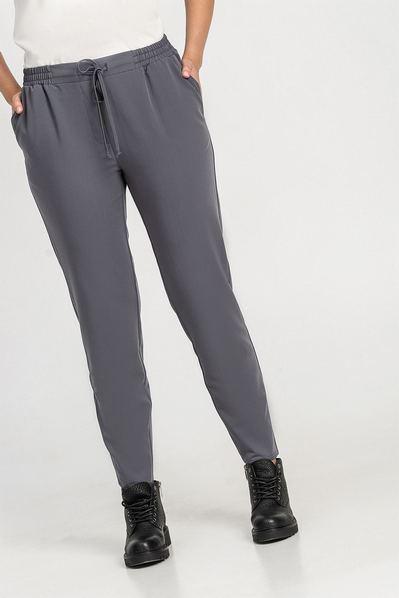 Прямые брюки с кулиской графитовые
