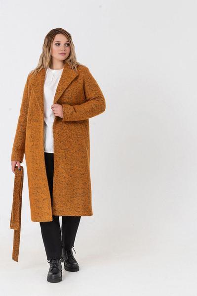 Горчичное пальто на запах из пальтовой ткани большой размер