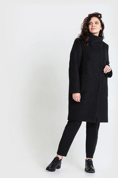 Женское пальто зимнее с воротником-стойкой букле черное большой размер