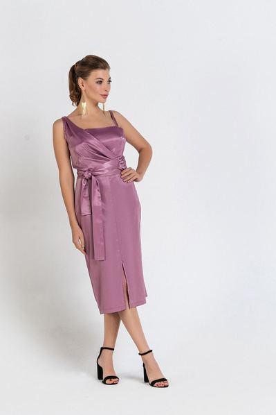 Атласное платье без рукавов ярко-фрезовое