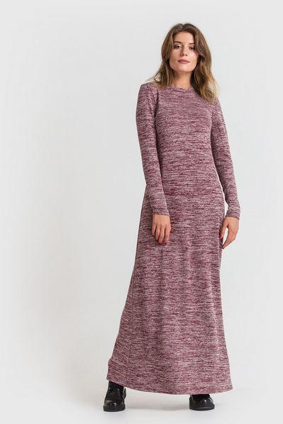 Длинное платье трикотажное бордово-молочный меланж