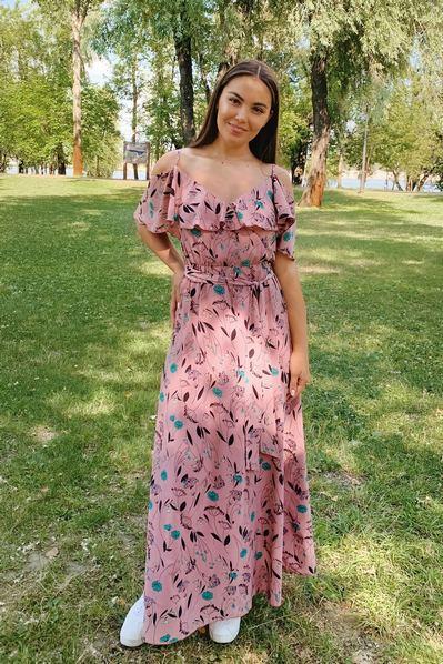 Длинное платье с воланами на рукавах цветы на фрезовом