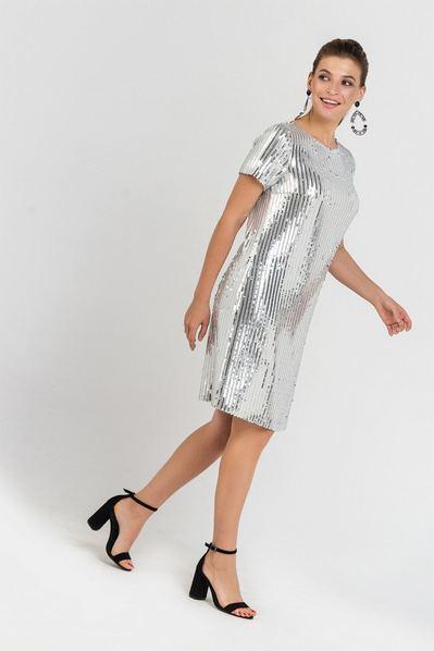 Серебряное платье мини с пайетками прямое