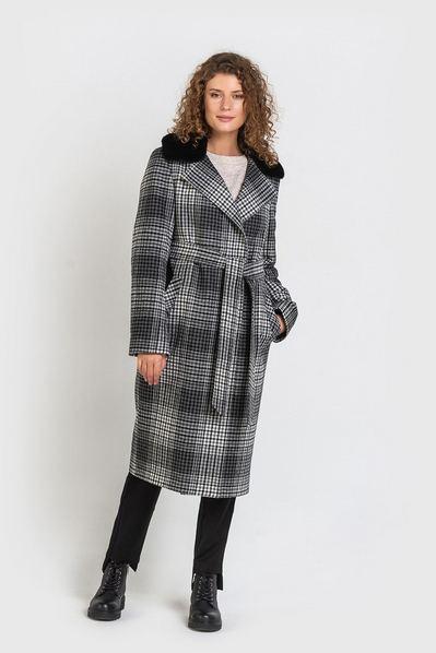 Молочно-графитово-черное пальто с поясом и меховым воротником