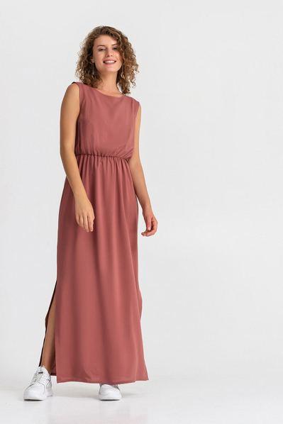 Макси платье на резинке с завязками на шее на фрезовом