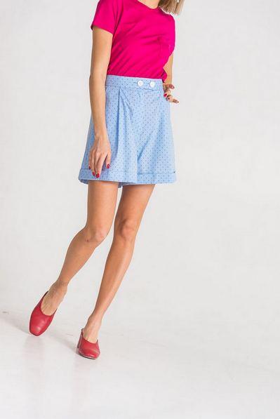 Женские шорты голубые с принтом якоря