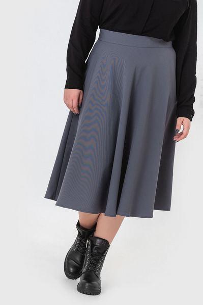 Миди юбка полусолнце графитовая большой размер