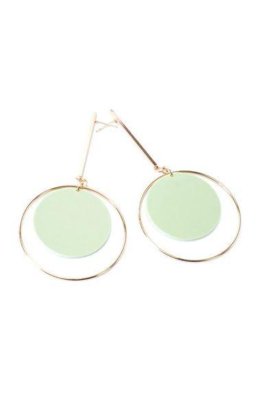 Серьги хай-тек со светло-зеленой круглой подвеской