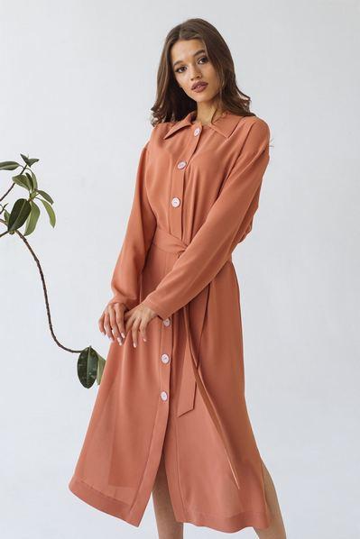Платье рубашка с поясом на терракотовом