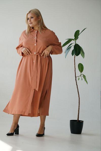 Платье рубашка с поясом на терракотовом большой размер
