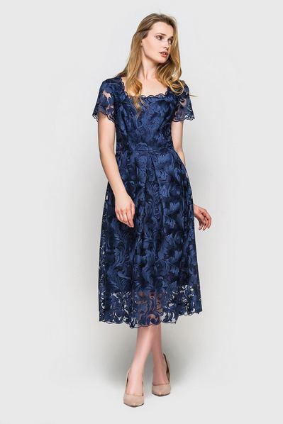 Синее платье гипюровое миди с бантовой складкой