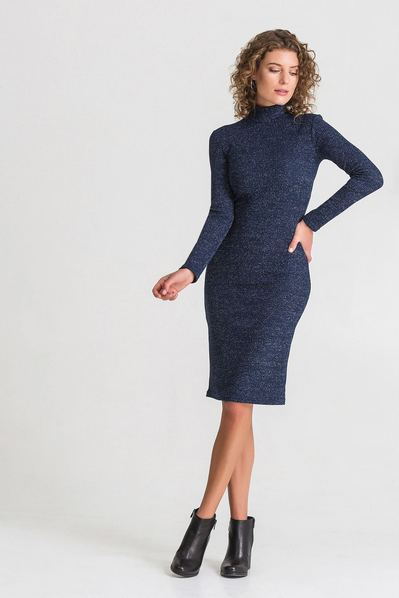 Темно-синее трикотажное платье-гольф с люрексом
