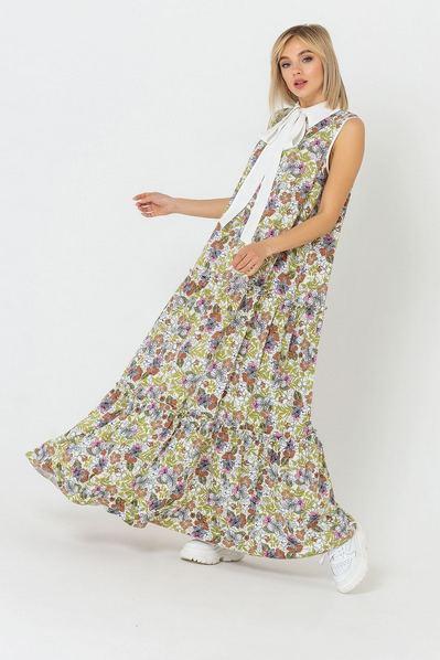 Макси платье с воротничком в горчично-терракотовые цветы
