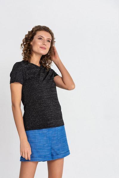 Женская футболка черная с люрексом
