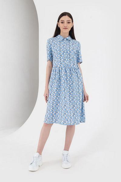 Льняное платье рубашка с принтом овечки на небесном