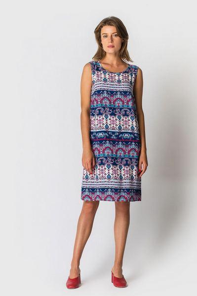 Штапельное платье майка с восточным принтом бирюзово-синее