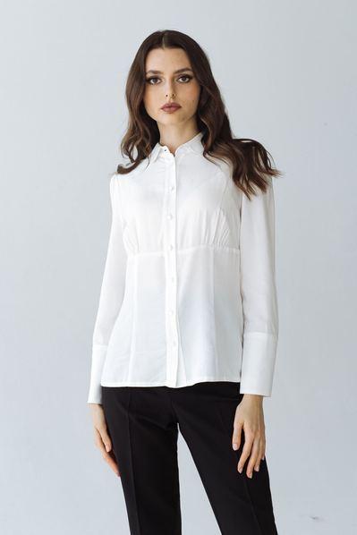 Блуза со скругленным воротником и широким манжетом молочная