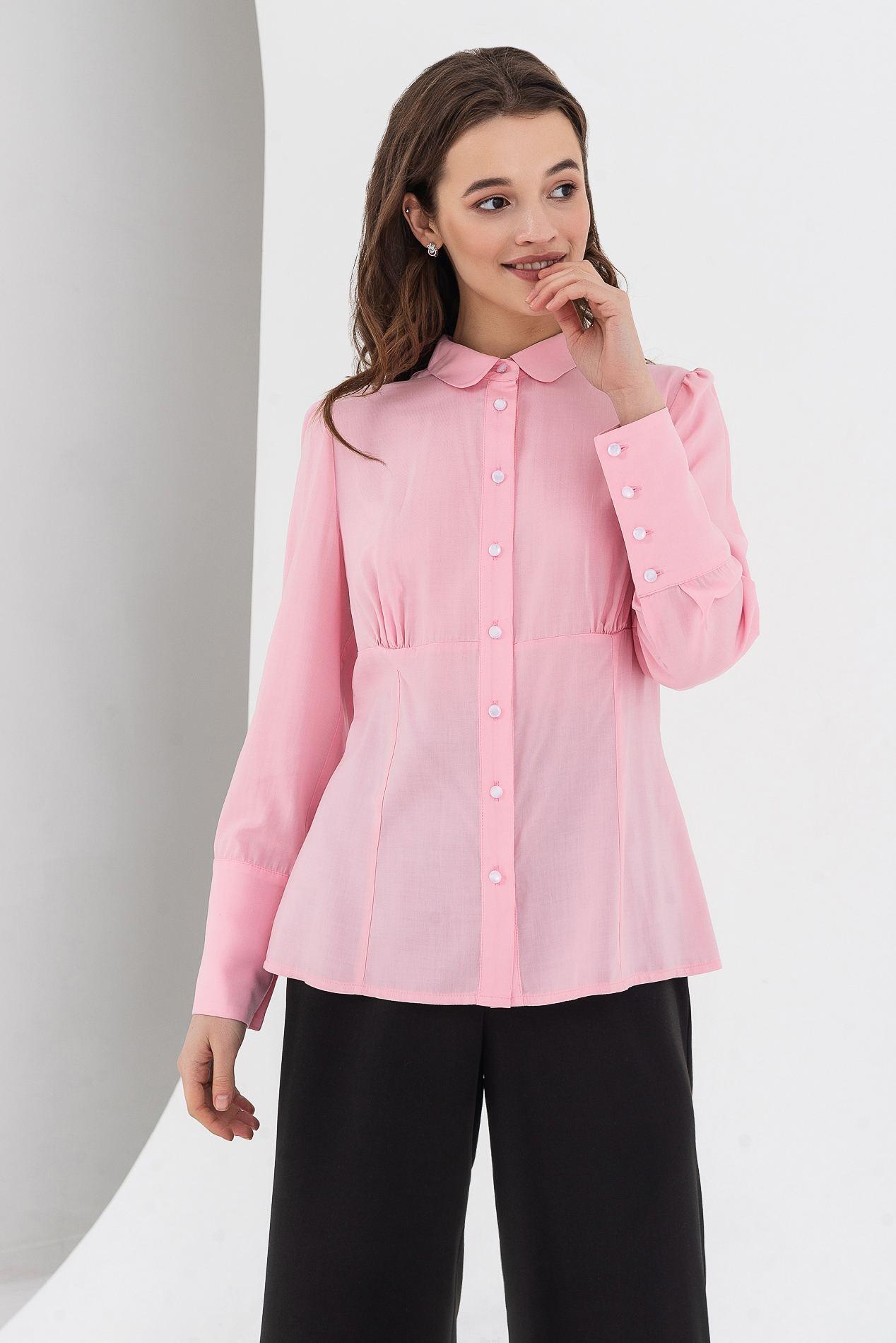 Блуза со скругленным воротником и широким манжетом розовая