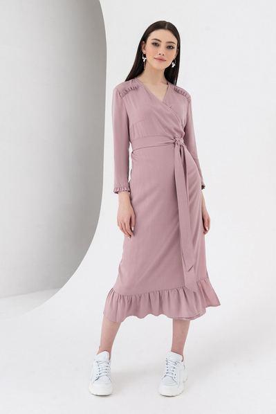 Миди платье с запахом и оборками фрезовое