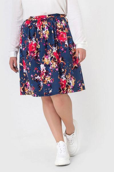 Темно-синяя юбка деми принт золотые цветы большой размер