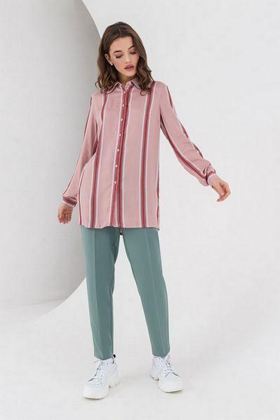 Фрезово-синяя рубашка в полоску с люрексом