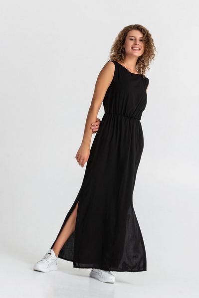 Черное длинное платье на резинке с завязками на шее