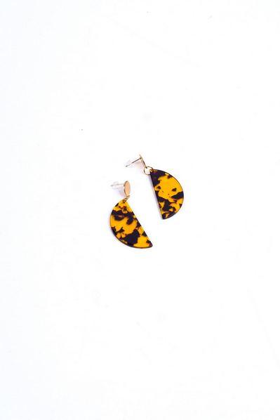 Желтые серьги-подвески полукруг с леопардовым принтом