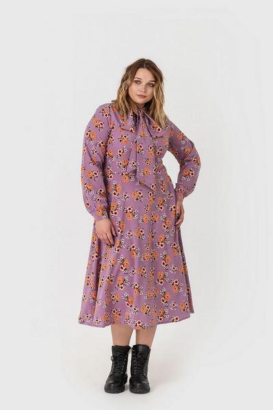 Миди платье с завязками цветы на фрезовом