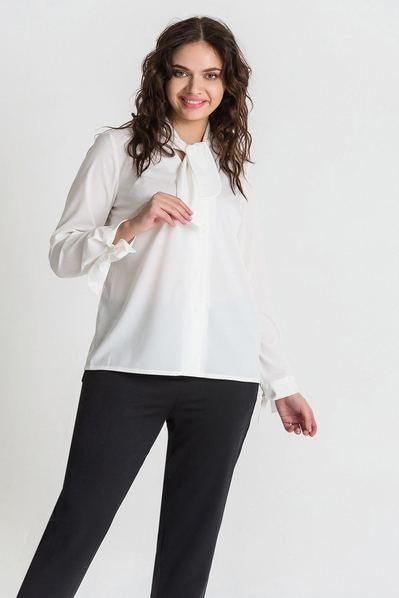 Женская блузка с воротником-завязкой из вискозы молочная большой размер