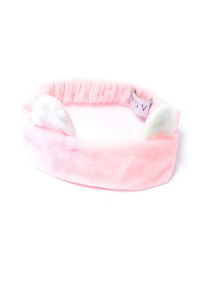 Розовая плюшевая повязка с белыми ушками