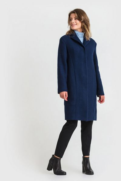 Женское пальто зимнее шерсть букле темно-синее