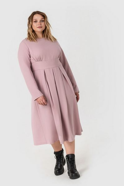 Платье миди из костюмной ткани фрезовое