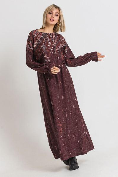 Длинное платье трикотажное с принтом бордовом фоне