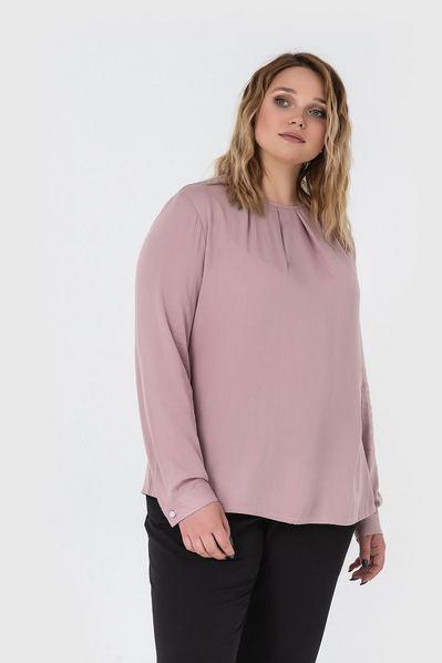 Штапельная блузка со сборкой фрезовая большой размер