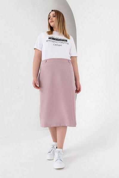 Миди юбка на запах фрезовая большой размер