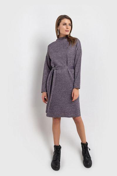 Теплое платье с поясом принт лавандово-черная гусиная лапка