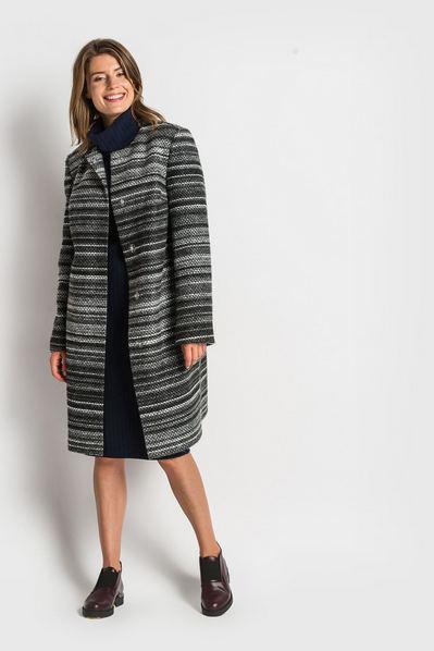 Женское пальто без воротника шерстяное графитово-черный меланж