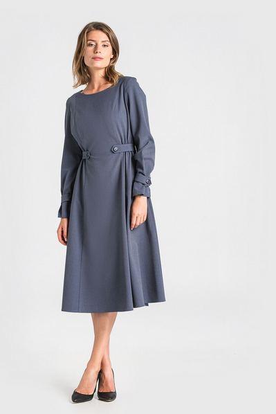 Платье миди из костюмной ткани в мелкую темно-синюю клетку