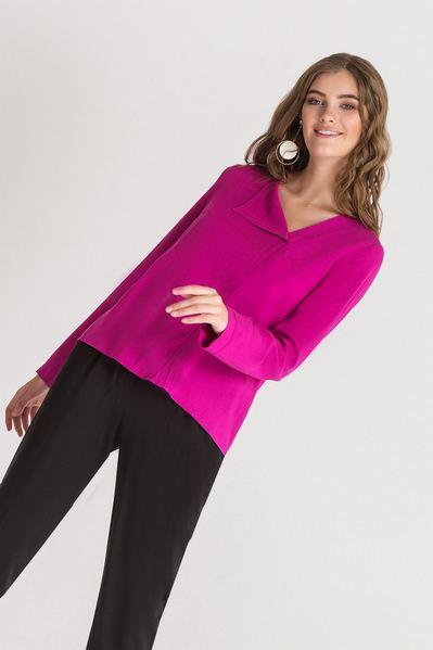 Летняя блузка с отворотом фуксия