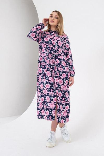 Синее платье миди с кулиской принт розовые цветы большой размер